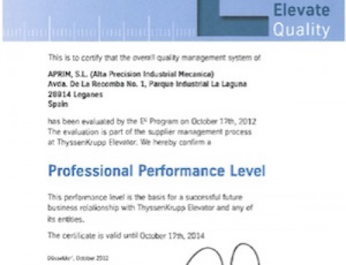THYSSENKRUPP Spanish first supplier with the qualification of PROFESSIONAL PERFORMANCE LEVEL (professional level)